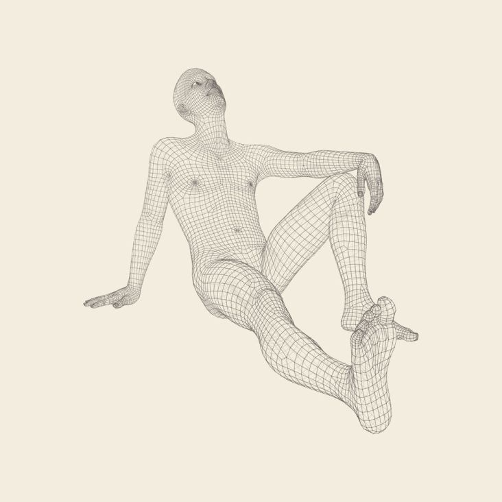 78354333 - man in a thinker pose. 3d model of man. geometric design. human body wire model. business, science, psychology or philosophy vector illustration.